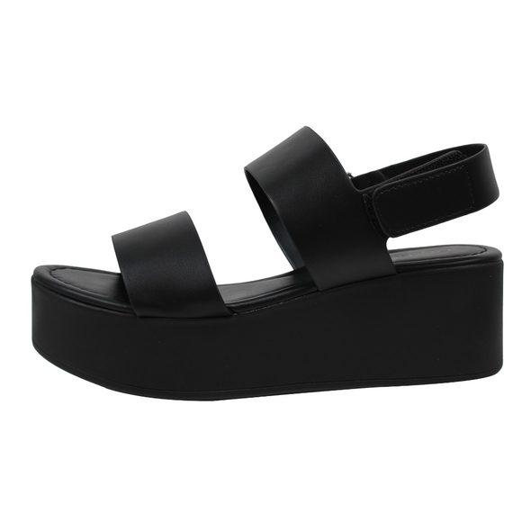 5b0913b460c Black Faux Leather Wrap Flatform Wedge Sandal